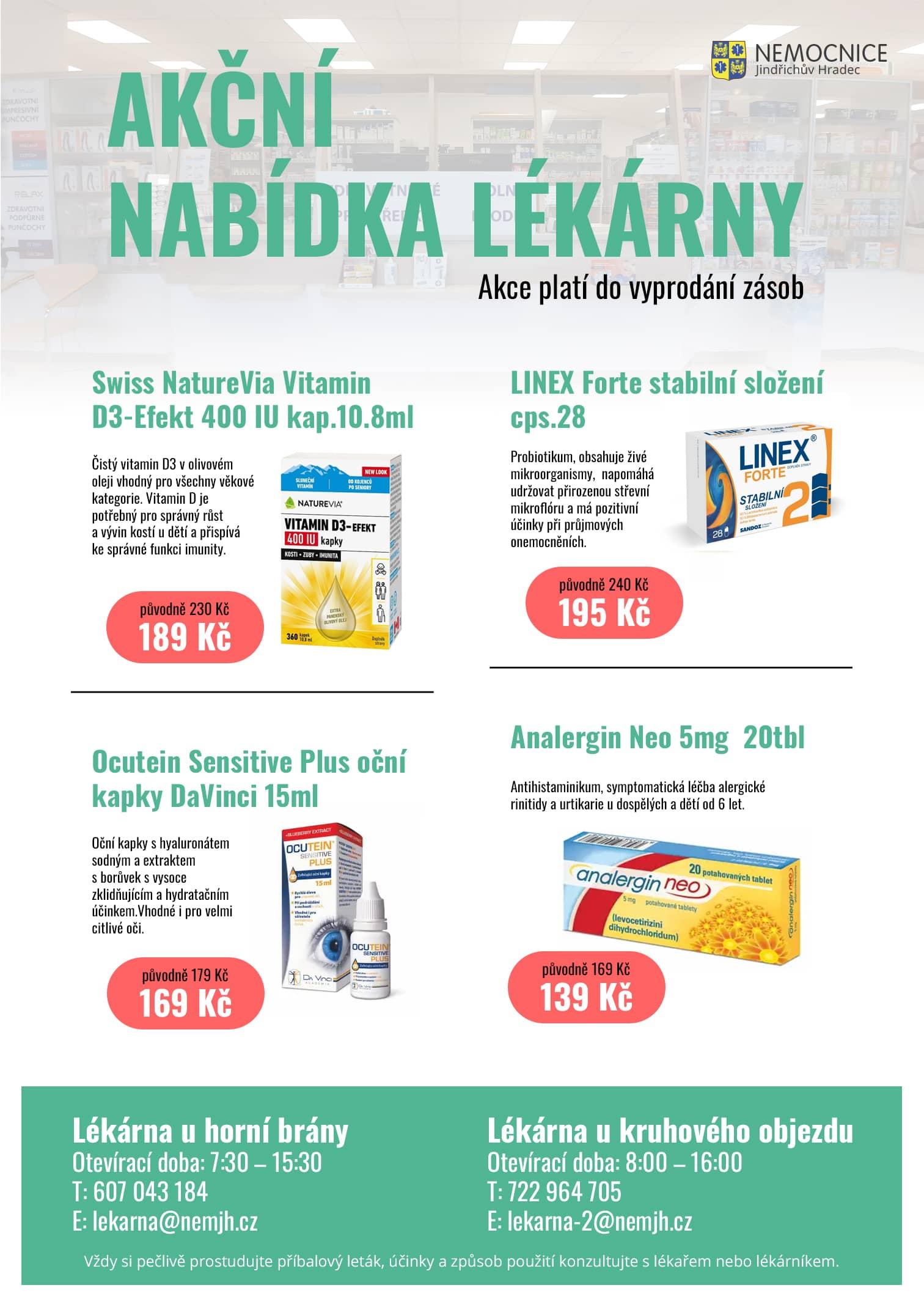 Akční nabídka lékárny NEMJH